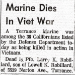 Larry Robillard dies in Viet Nam-Daily Breeze article